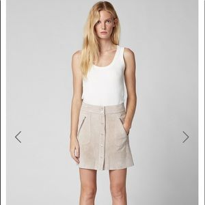 NWT BLANKNYC SUEDE skirt button front fawn